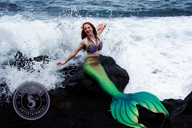 Catalina Mermaid as Little Mermaid on Rocks.png