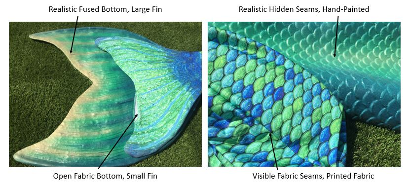 Fabric Mermaid Tail vs Silicone Professional Mermaid Tail Comparison