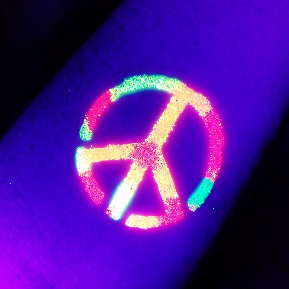 Blacklight Glitter Tattoo Example