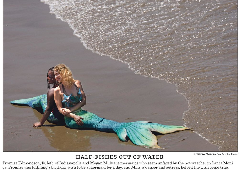 Our mermaid beach visits are so remarkable that even the LA Times had to stop and take a photo!