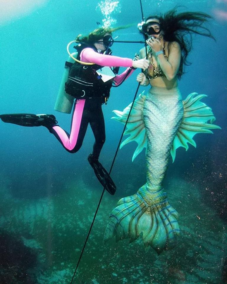Silicone mermaid tail rental with SCUBA rescue diver rental and underwater shoot coordination (45' under the water in the Caribbean!)