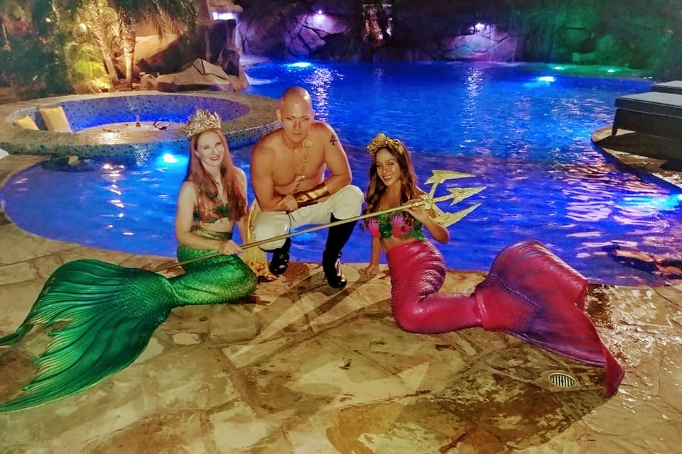 Sheroes Entertainment Swimming Mermaid Models and Pirate for Los Angeles Pool Party