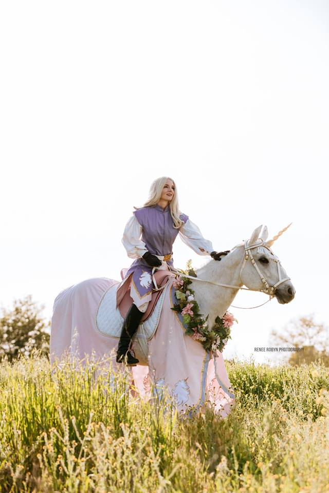Fantasy photo shoots come alive with our Los Angeles and Ventura County unicorn stunt horse services for film and print.