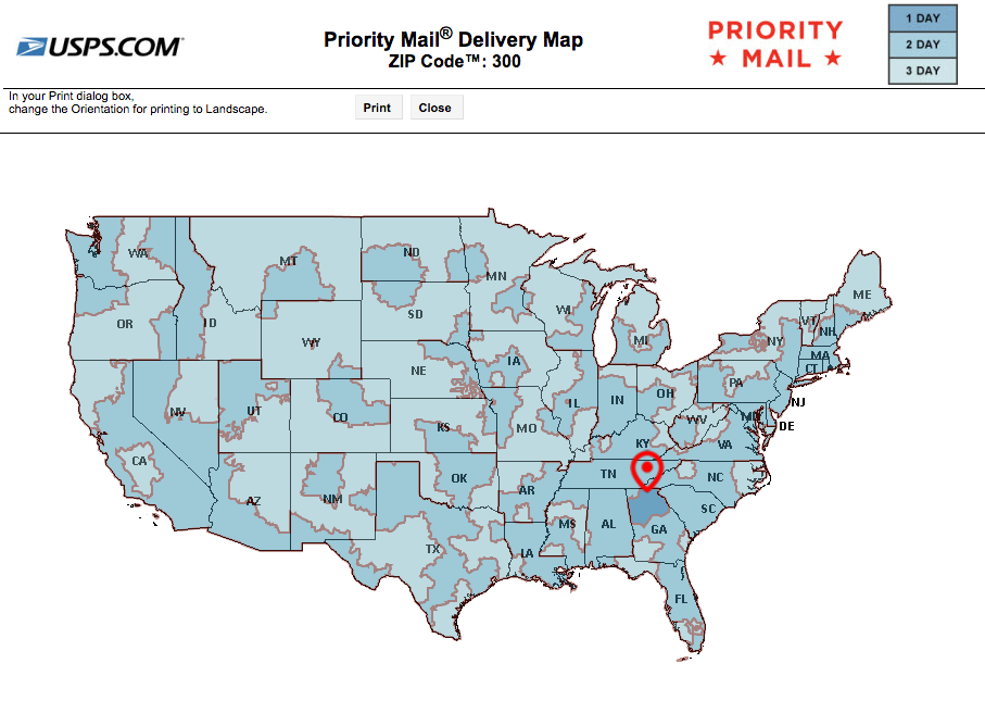 US Priority Delivery map shipping from Georgia (must order by 3pm daily to ship same day)