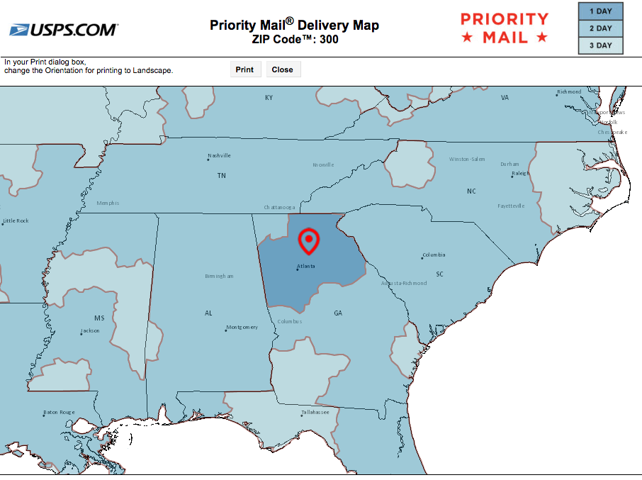 Local Priority Delivery map shipping from Georgia (must order by 3pm daily to ship same day)