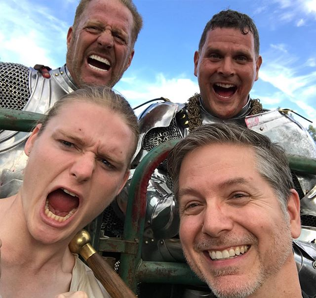Celebrating with our victorious knights at RenFaire with @old_man_ravenstad #renfaire #goodtimes #renaissancefaire #knights #jerrybuteynphotography #joust #tothevictorsgothespoils