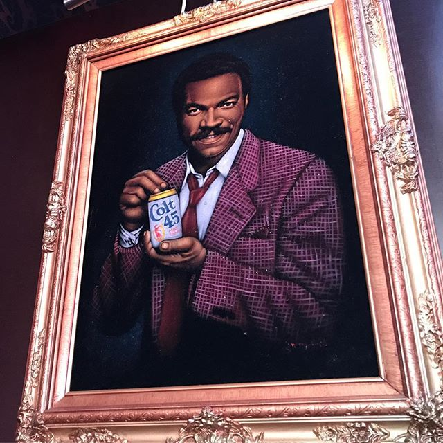 Sometimes your day just gets better because of Billy Dee Williams and Colt 45 on velvet. It doesn't get much smoother than that! 😎 #billydeewilliams #colt45 #velvetpainting #smooth #iphone7plus #alright #jerrybuteynphotography