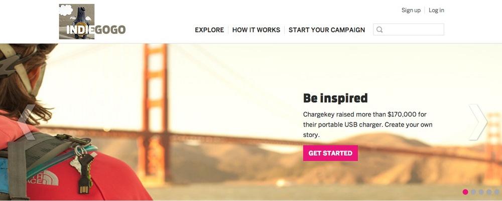 Indiegogo homepage, found on indiegogo.com