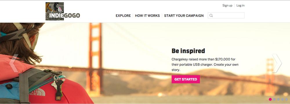Indiegogo.com homepage.