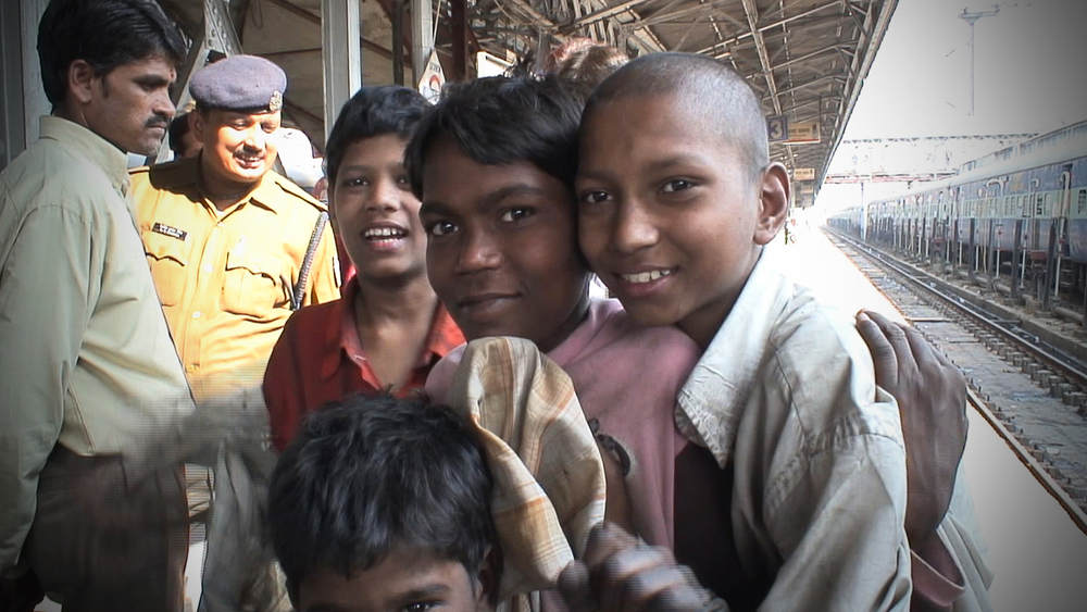 Young boys on Lucknow railway station. These boys are addicted to sniffing inhalants such as correction fluid
