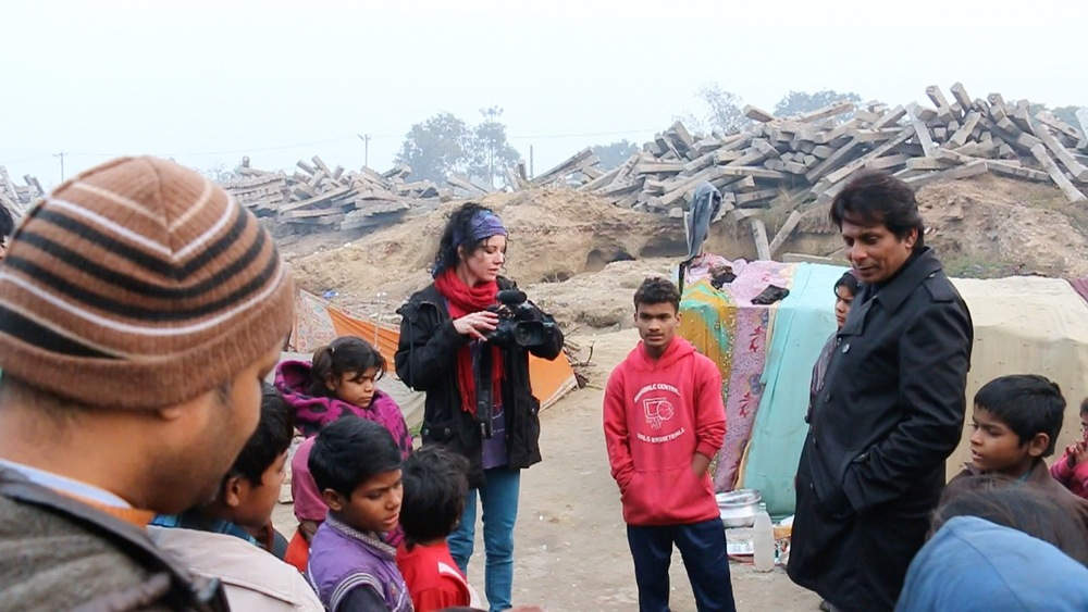 Filming with Ravi at Shadara slum, Delhi