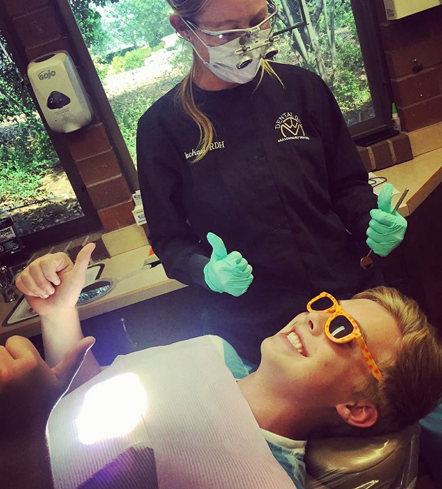 Cleaning Day!!! - Dr. Mullens son, Ethan setting a good example, and looking like a ROCKSTAR while he got his teeth cleaned by our RDH Rachael today!!!