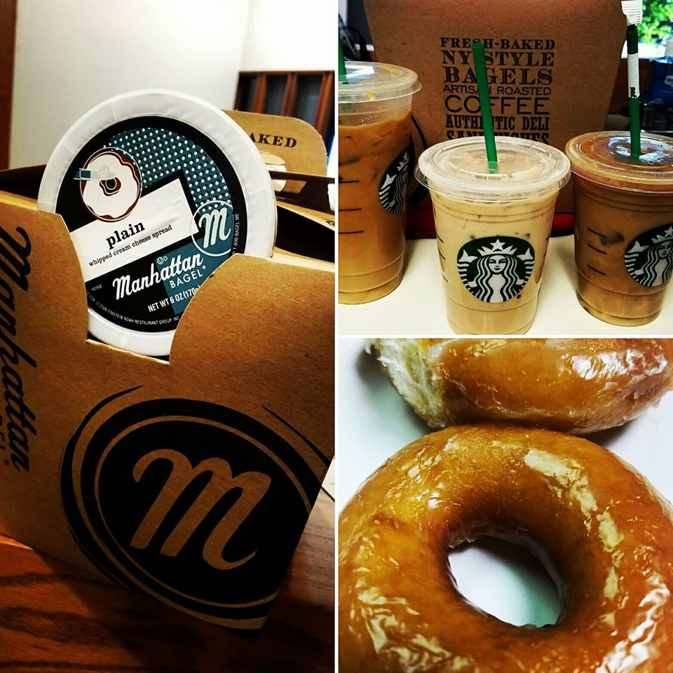 Spoiled! - Wow! We sure love spoiling each other! Dr and Emily brought us donuts and Starbucks coffee this week, and Monica surprised us with Manhattan Bagel!