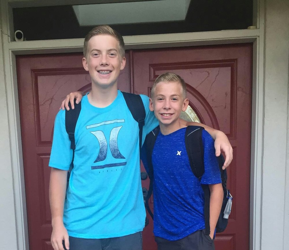 Back to School!! - The Mullen boys were looking handsome this week when they went back to school! Ethan is a Sophomore this year, and Brennan is going into 8th grade!