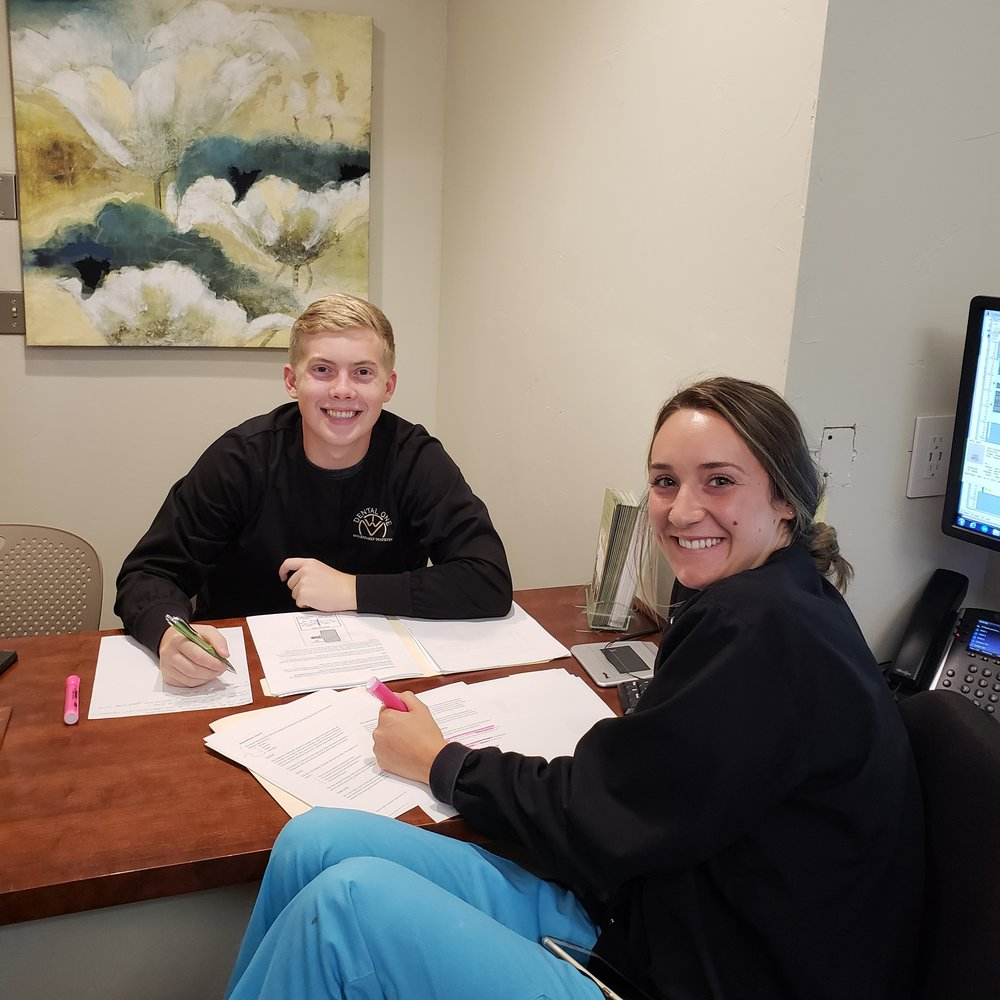 Summer work life! - Our dental kiddos Ethan and Kennedy are studying hard for their radiology certifications so they can help out with patients in the office this summer! They are such good students!