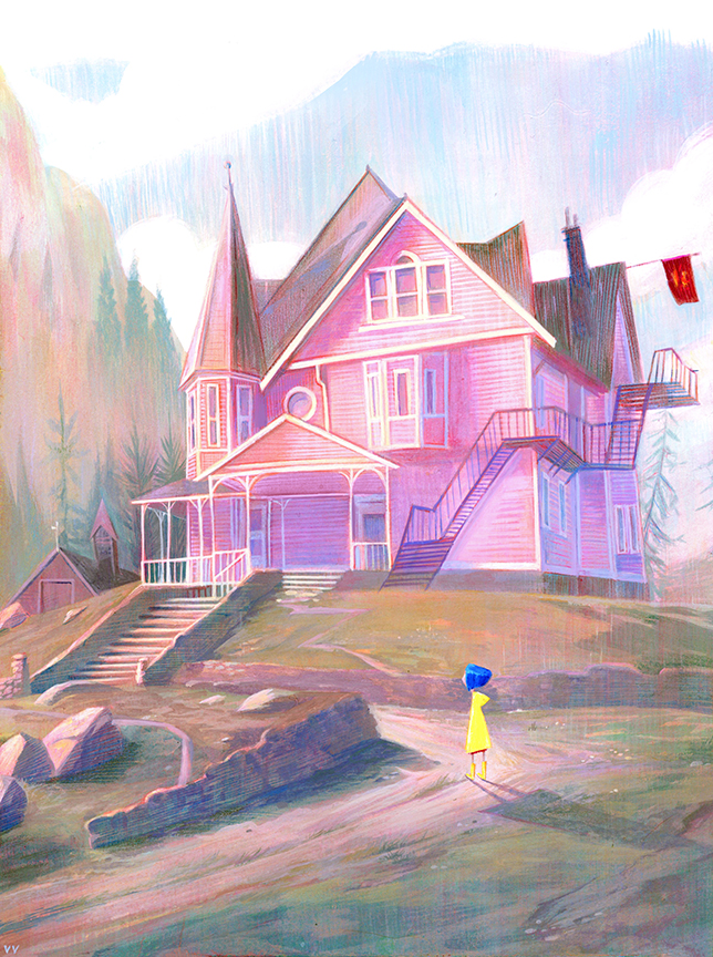 Pink Palace  , image for  Gallery Nucleus   This   Coraline   inspired painting was done as part of a tribute show for  Laika Studios 10th Anniversary Show ! Prints available  here .
