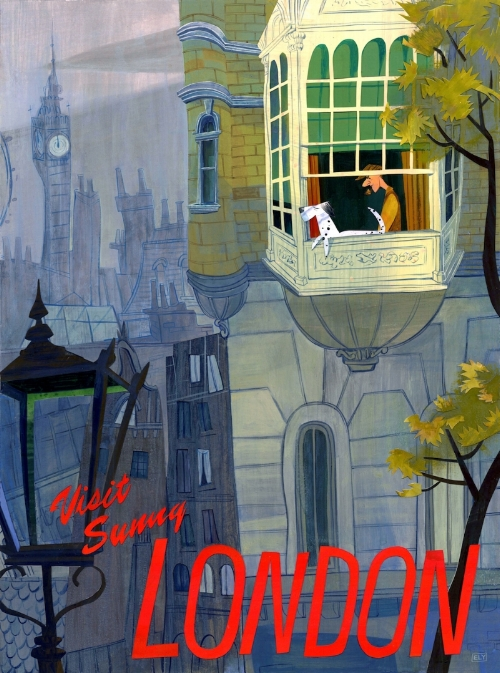 Visit Sunny London  ,     image for  Gallery Nucleus   This  101 Dalmatians  inspired collage was created for   Dream Destinations: A Disney Travel Poster Exhibition   .  Prints are available  here  .