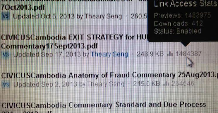 Theary Seng's  Exit Strategy for Hun Sen  reaches almost 1.5 million hits.