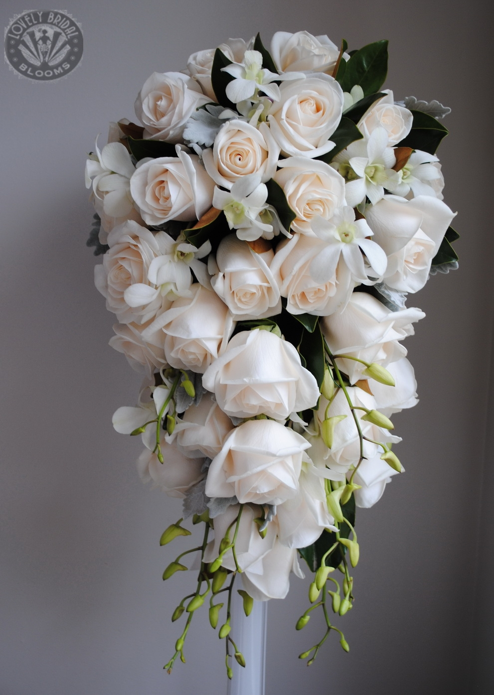 Trail bouquet of roses and orchids