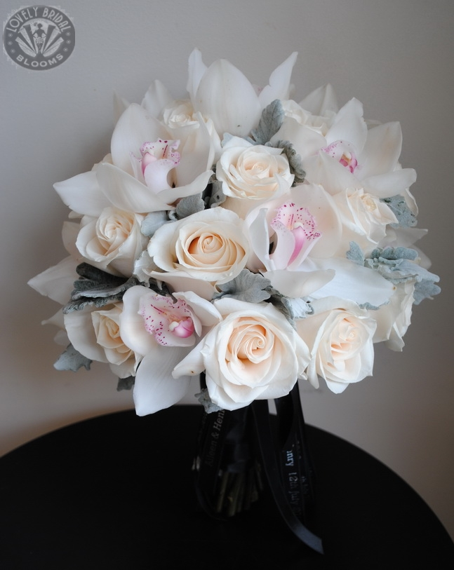 Bridal Bouquet of Roses and Cymbidium Orchids