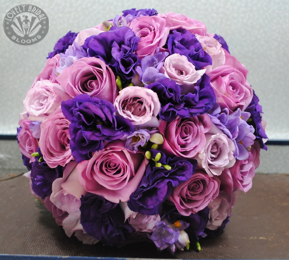 Bridal Bouquet of Roses, Lisianthus and Freesia