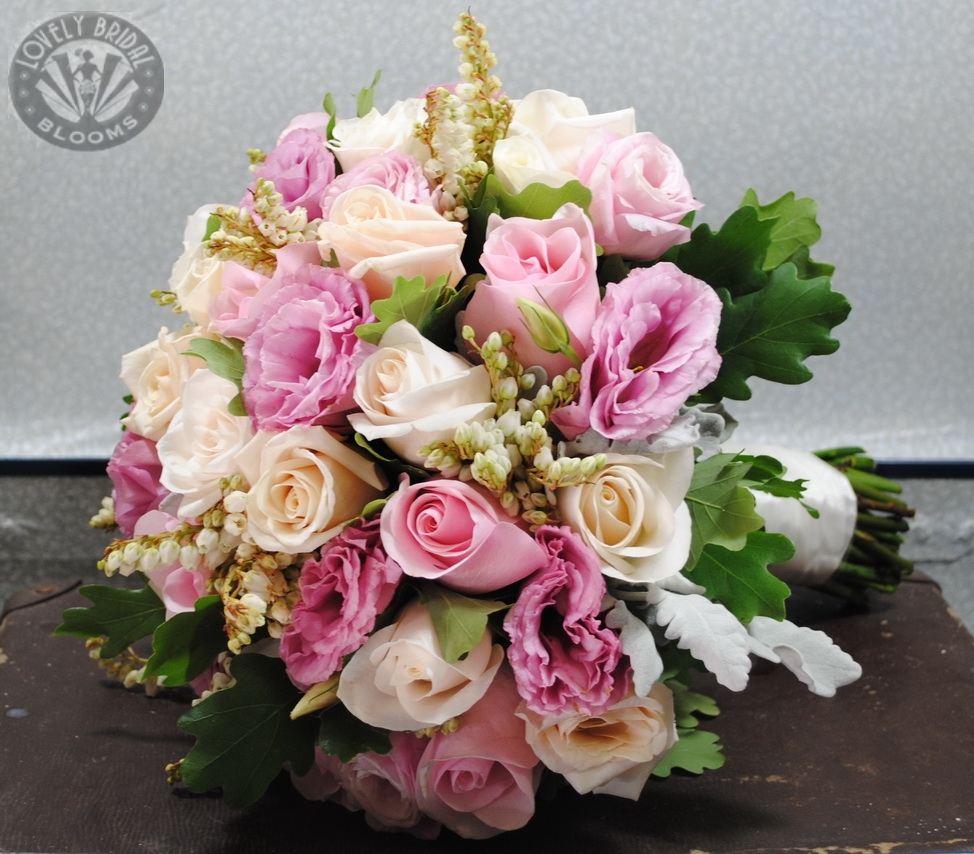 Bridal Bouquet of Lisianthus, Roses and Pieris