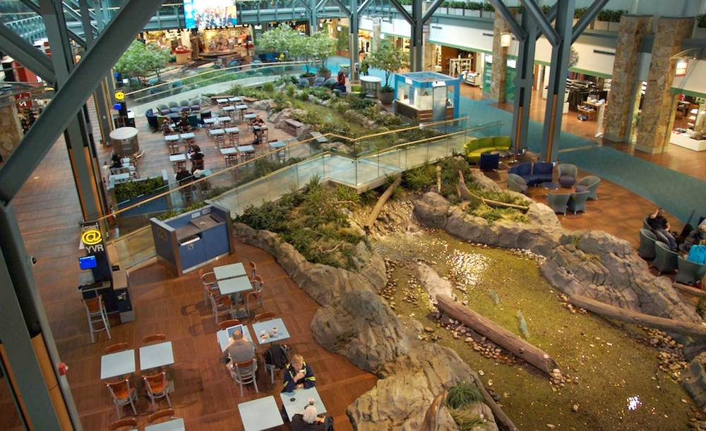 Enjoy the indoor creek running through the Vancouver airport terminals
