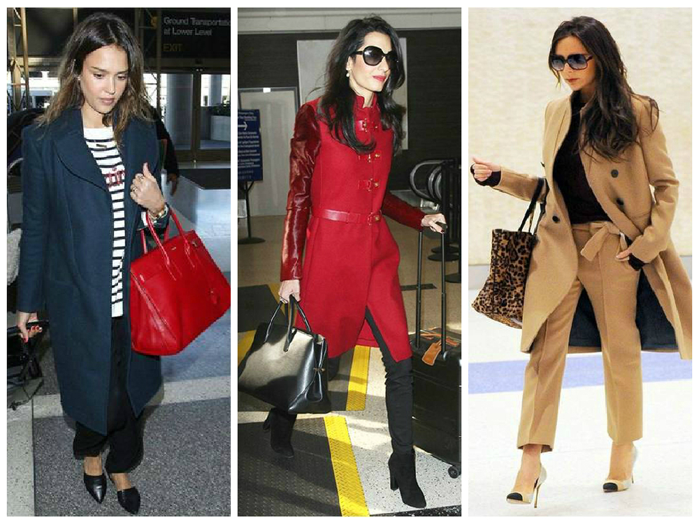 Find inspiration from these celebs traveling in style while wearing their winter coats.