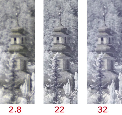 100% crop of IR pictures at three different apertures.