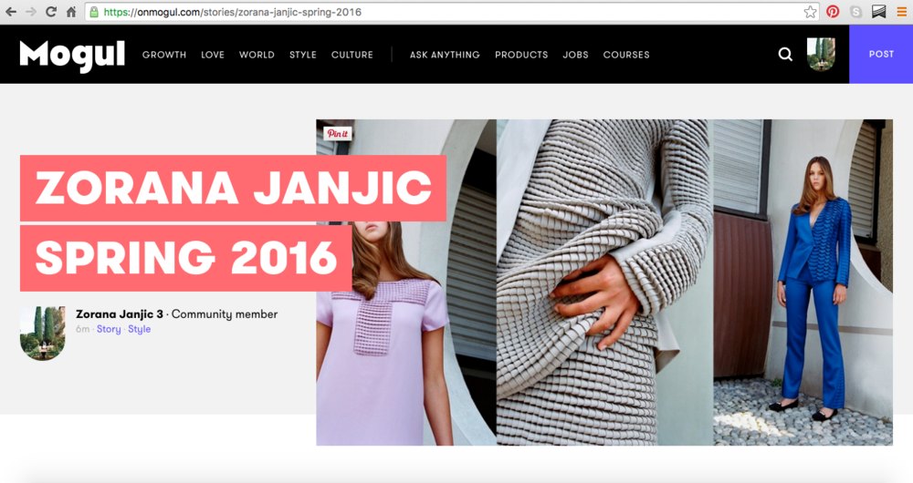 We are now on Mogul! Follow us:  https://onmogul.com/stories/zorana-janjic-spring-2016