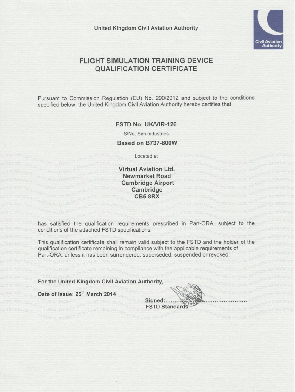 CAA Qualification Certificate