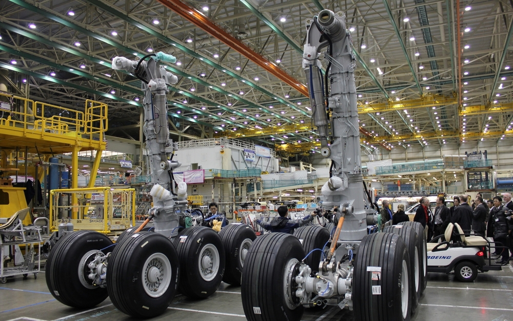 Boeing 777 landing gear assemblies awaiting installation