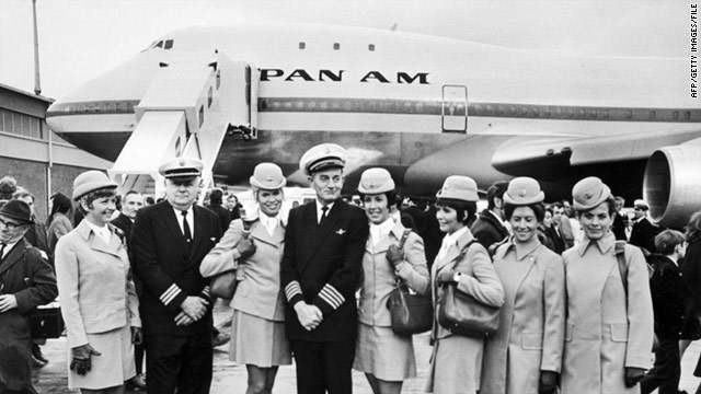 The first Pan Am crew pose outside the aircraft before its maiden journey