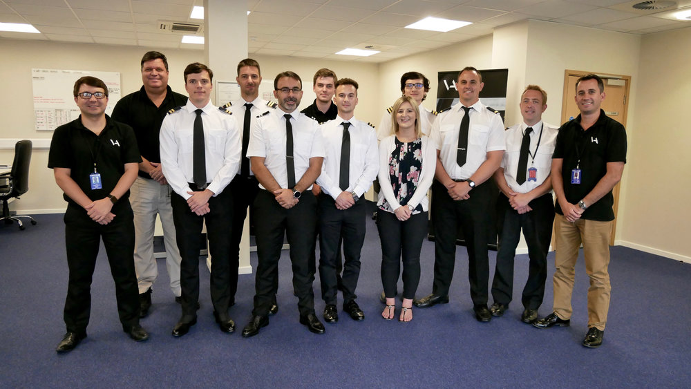 Staff and students at VA's Training Centre at Cambridge Airport