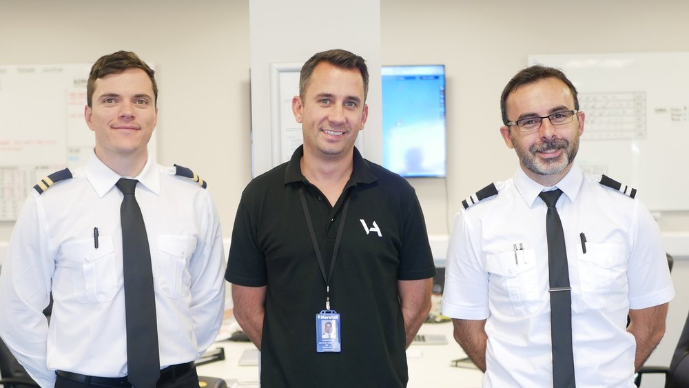 Martin (right) and his simulator training partner Byron (left), accompanied by Ben (centre) of VA Airline Training upon completion of their APS MCC.