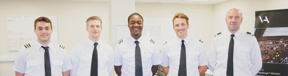 All of APS MCC class 1814 went on to employment soon after graduating. From left to right - Jesus (Iberia Airways), Raymond (Ryanair), Kudzi (Ryanair), Alex (Ryanair) and Kepa (TAROM).