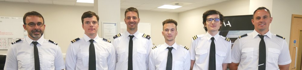 Graduates from APS MCC class 1815 who are now all flying commercially as first officers. From left to right, Martin (Flybe), Byron (Ryanair), Fabrizio (Ryanair), Simone (Ryanair), Massimiliano (Ryanair) and Aaron (Flybe),