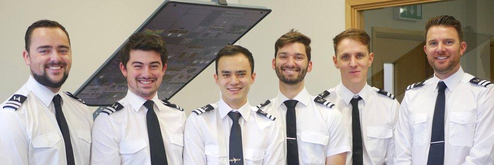APS MCC class 1822 have all secured a job. From left to right - James (Flybe), Scott (Ryanair), Ken (Ryanair), Thomas (Flybe), Matthew (Ryanair), Luke (Ryanair).