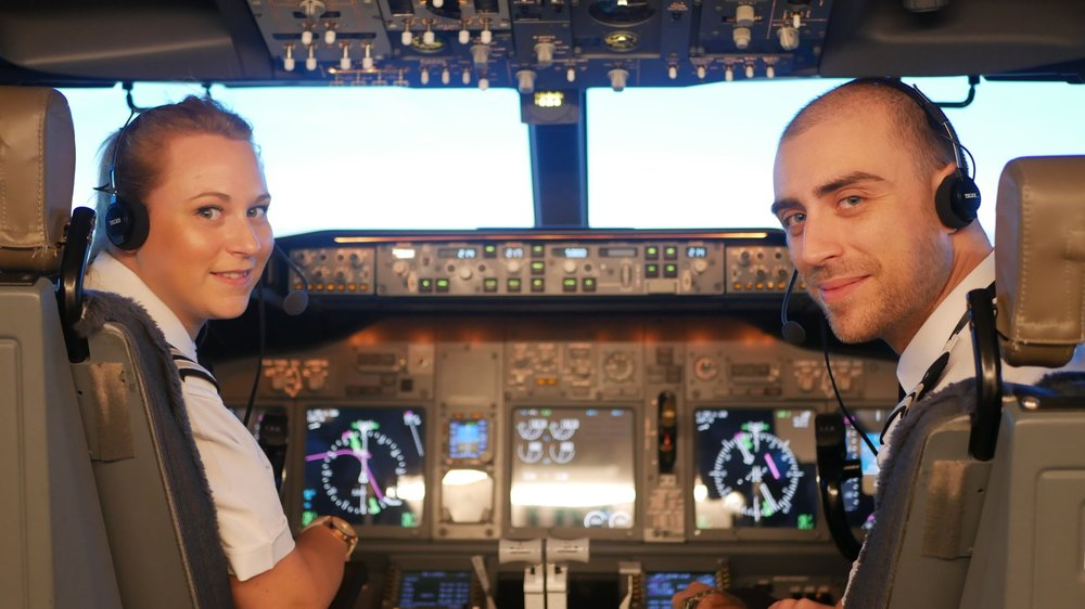 Jennifer (left) and Augusto (right) of APS MCC class 1821 are both now first officers with Ryanair.