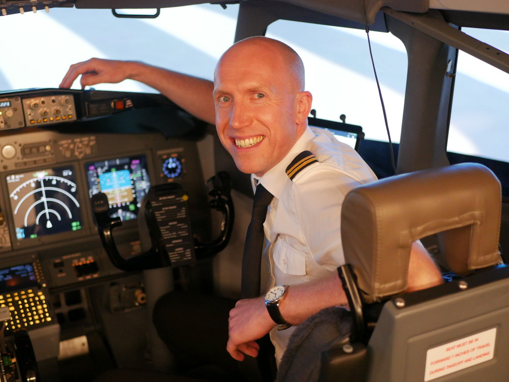 Andrew in our Boeing 737 simulator during his APS MCC training.