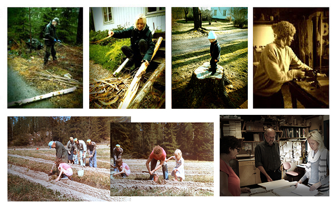 Top: My dad Lars-Ake, me and my son Casper on the farm. Bottom left: Planting trees in the forest with my grandfather Fritjof (left) and the whole family. I am on the right with my mum. Bottom right: My carpenter relatives who help me with a lot of the woodwork; Lars-Olof and Eva.