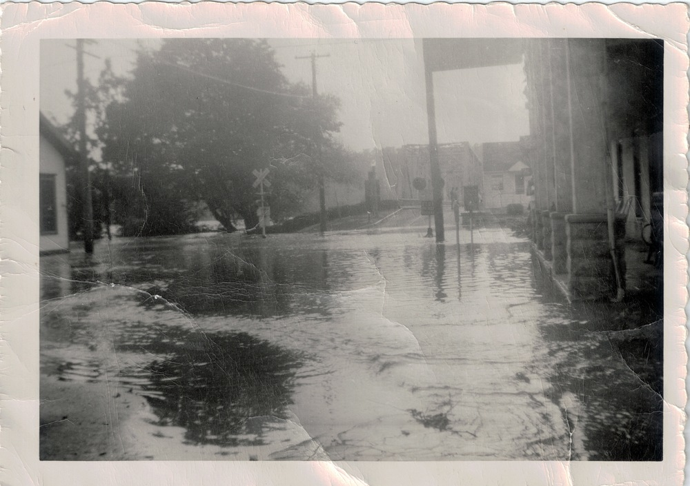Front view of Bridge Street in front of the Inn. Taken during the flood of 1955