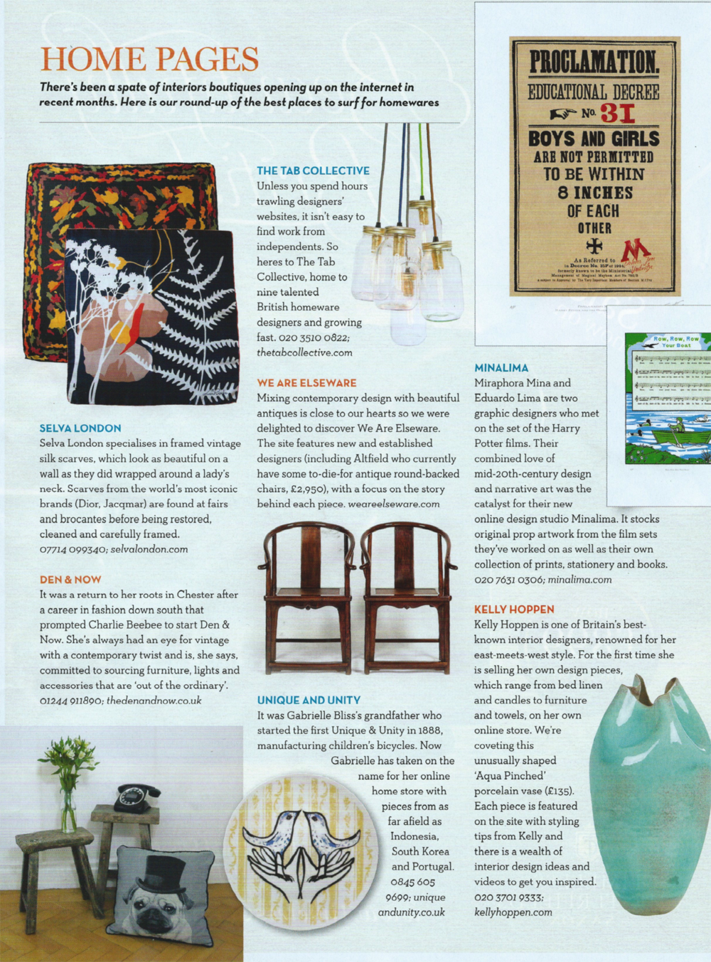 Home and Antiques Nov 2014 for SELVA London