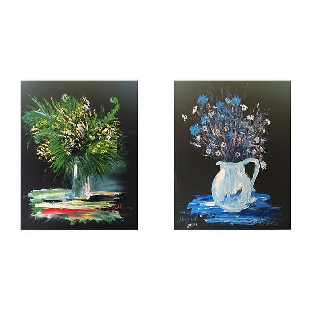 ДИПТИХ Полевые цветы, картон-масло, 40х50 (каждая).