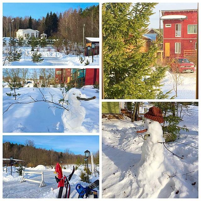 Лепим снеговиков, радуемся теплу и солнцу, катаемся на санках иснегокатах, залили каток- на коньках!
