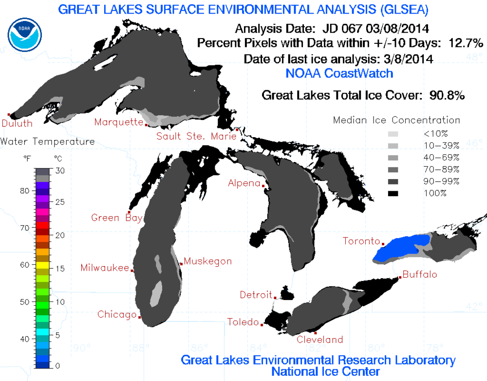 Great Lakes ice cover as of March 8th, 2014. (Credit: NOAA / Great Lakes Environmental Research Laboratory)