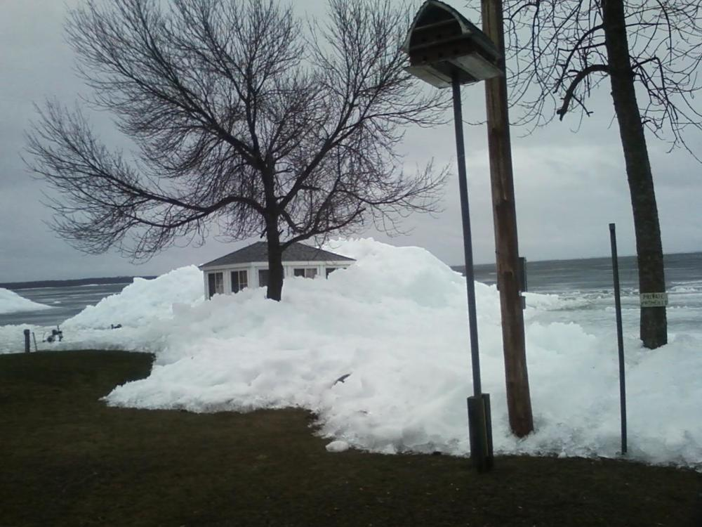 An ice shove on Lake Mille Lacs, courtesy of viewer Delores Beert.