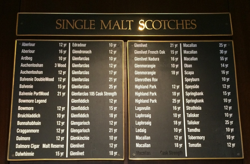 The selection of Scotches available as part of St. Paul Grill's Scotch Club.