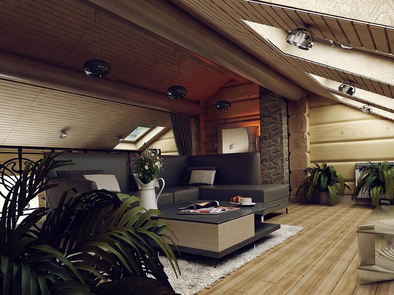 Интерьер гостевого дома из бруса