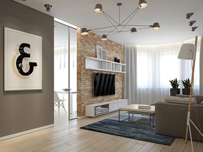 Дизайн квартиры с объединенной гостиной и коридором